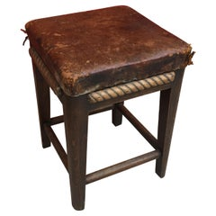 Art Deco Stool in Oak and Leather circa 1950, Carved Wooden Rope Decor