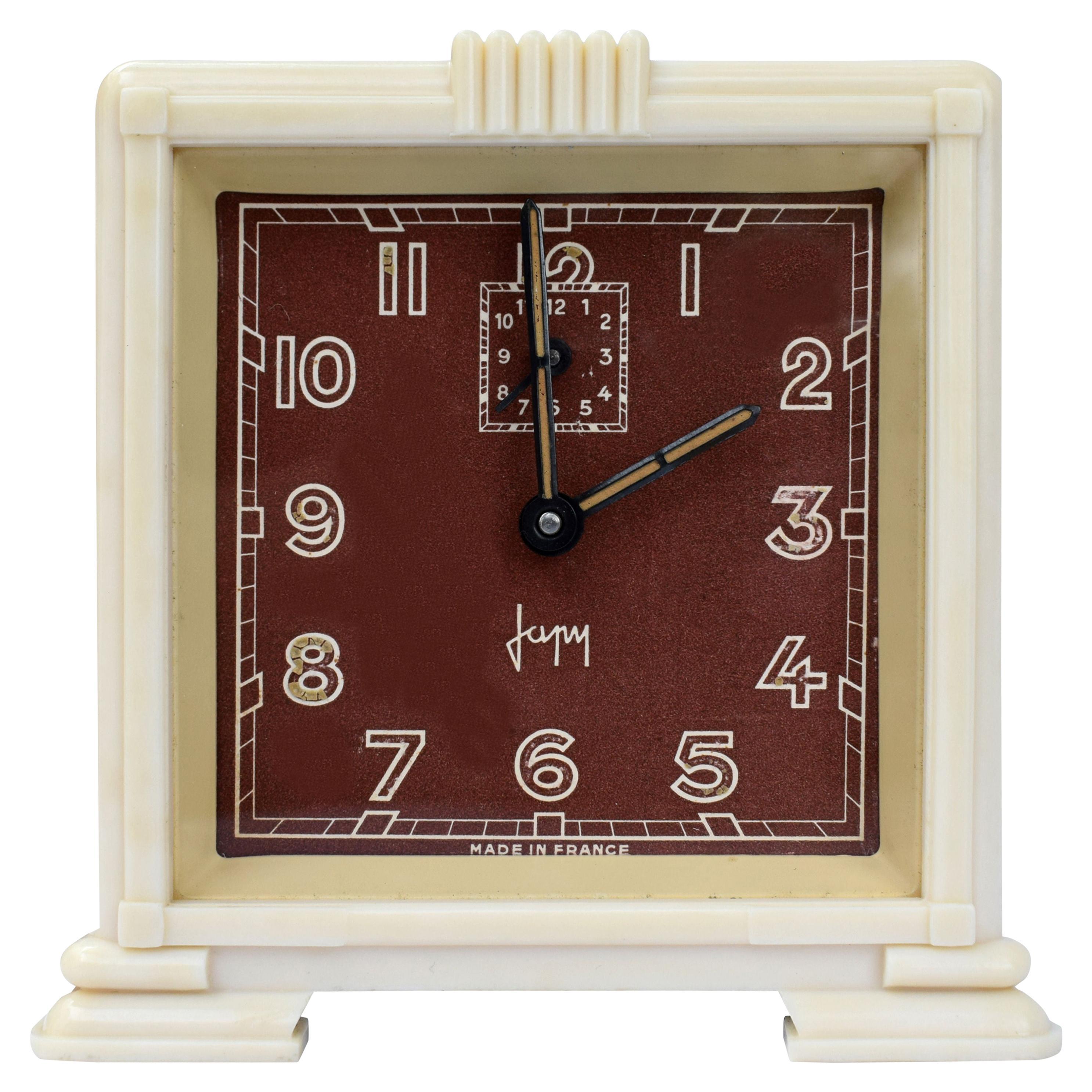 Art Deco Streamline Cream Bakelite Alarm Clock by Japy, circa 1930