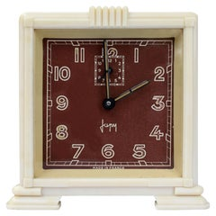 Art Deco Streamline Cream Bakelite Alarm Clock by Japy, circa 1930
