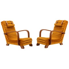 Art Deco Streamline Lounge Chairs by Heals of London, circa 1930s