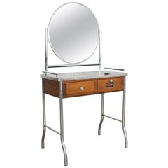 Art Deco Streamline Modern Machine Age Chrome Maple and Black Make Up Vanity