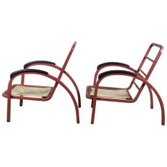 Art Deco Streamline Moderne Metal Lounge Chairs Norman Bel Geddes Simmons Red