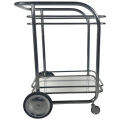 Art Deco Streamline Tubular Chrome and Glass Rolling Bar Cart or Trolley