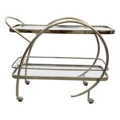 Art Deco Streamline Tubular Chrome and Glass Zeppelin Style Bar Cart or Trolley