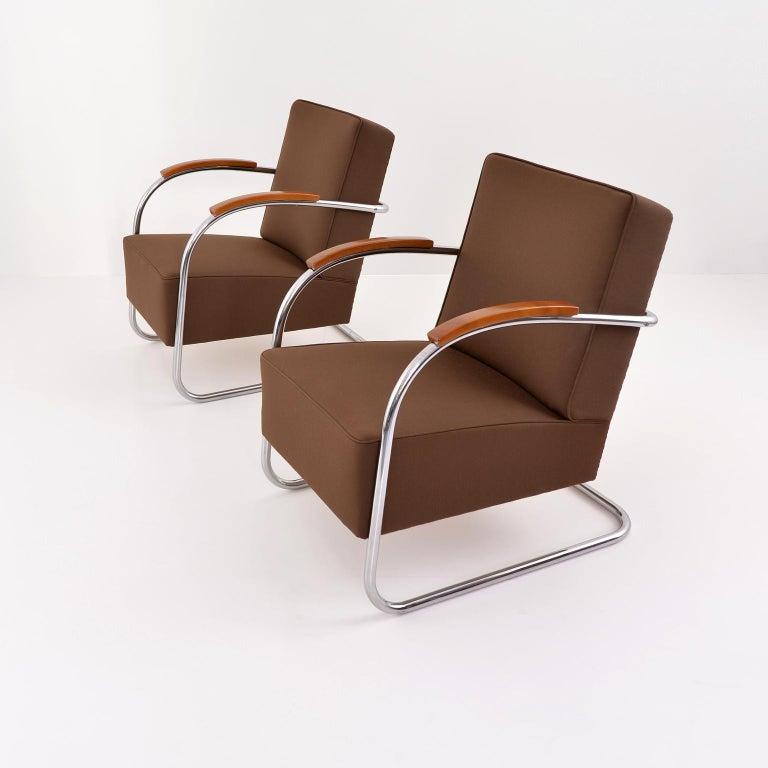 Art Deco Art Déco Streamline Tubular Steel Cantilever Armchair, Germany, 2015 For Sale