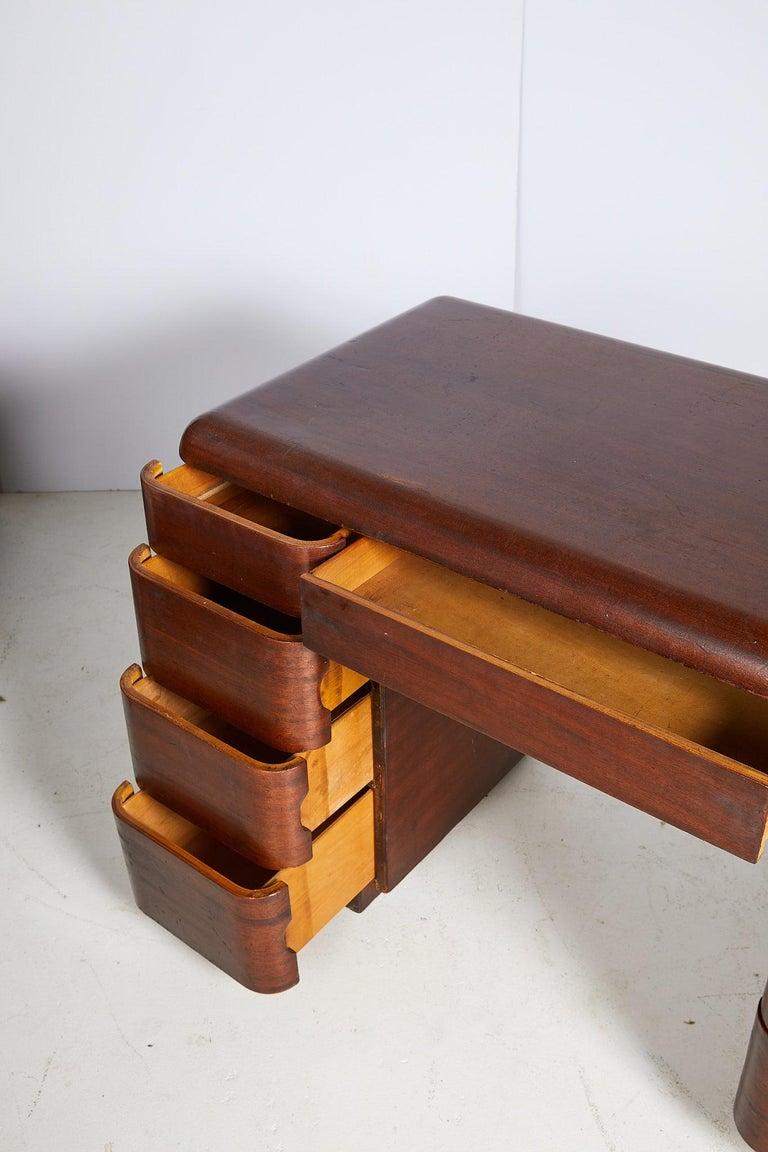 Art Deco Streamlined Bentwood Pedestal Desk by Paul Goldman for Plymold Co. 5