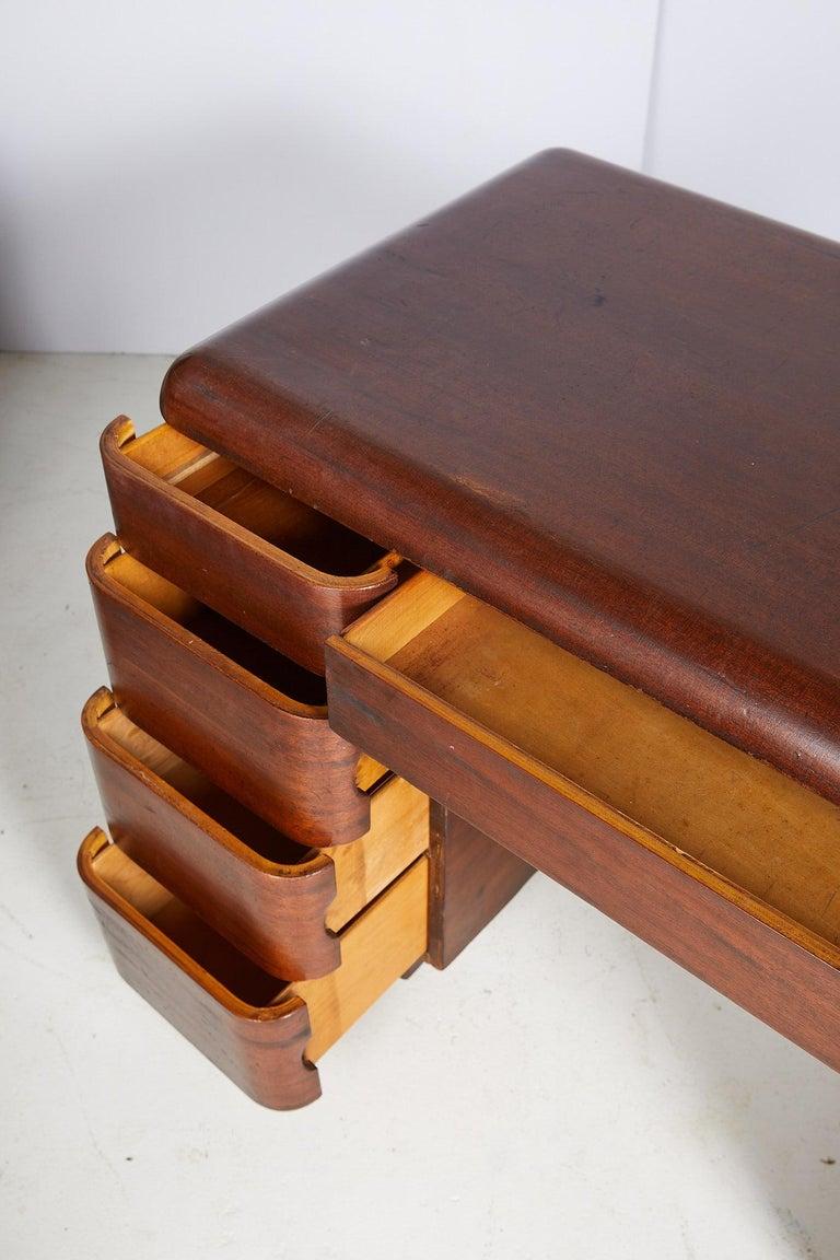 Art Deco Streamlined Bentwood Pedestal Desk by Paul Goldman for Plymold Co. 6
