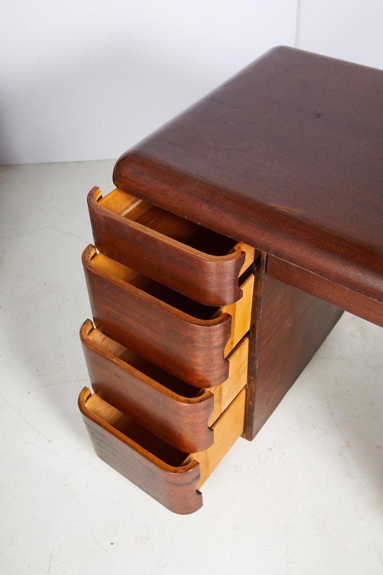Art Deco Streamlined Bentwood Pedestal Desk by Paul Goldman for Plymold Co. 7