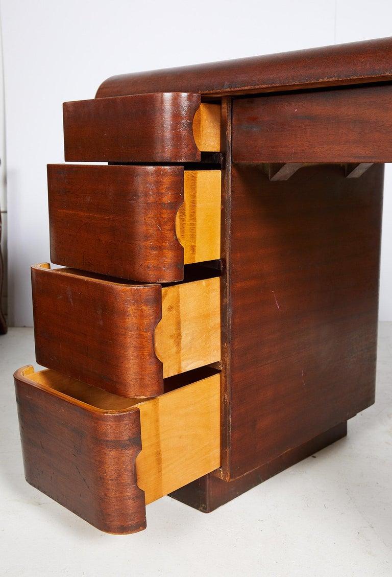 Art Deco Streamlined Bentwood Pedestal Desk by Paul Goldman for Plymold Co. 8