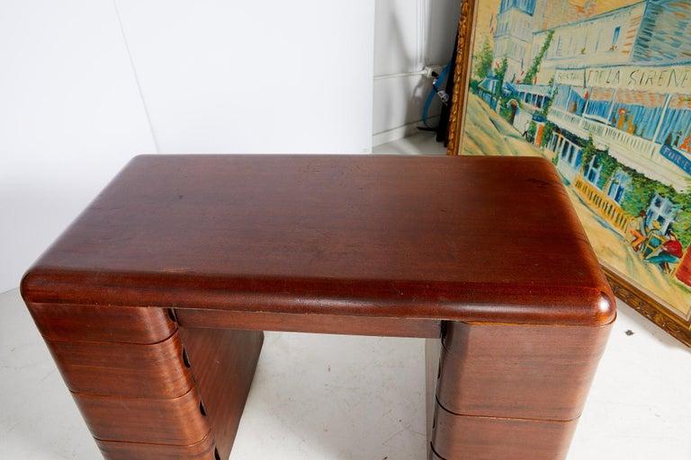 Art Deco Streamlined Bentwood Pedestal Desk by Paul Goldman for Plymold Co. 9