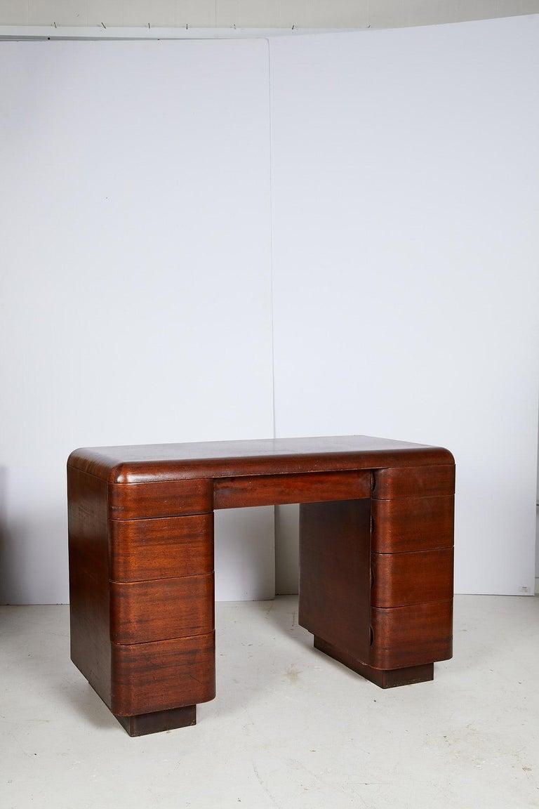 American Art Deco Streamlined Bentwood Pedestal Desk by Paul Goldman for Plymold Co.