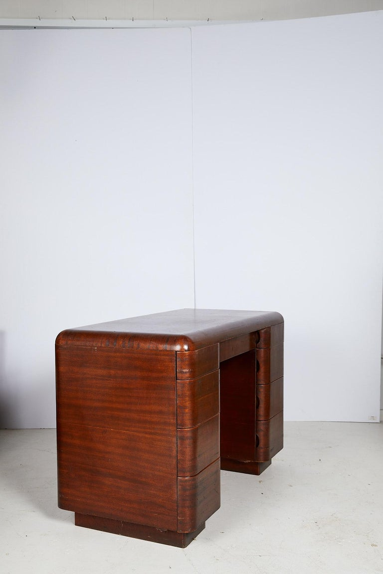 20th Century Art Deco Streamlined Bentwood Pedestal Desk by Paul Goldman for Plymold Co.