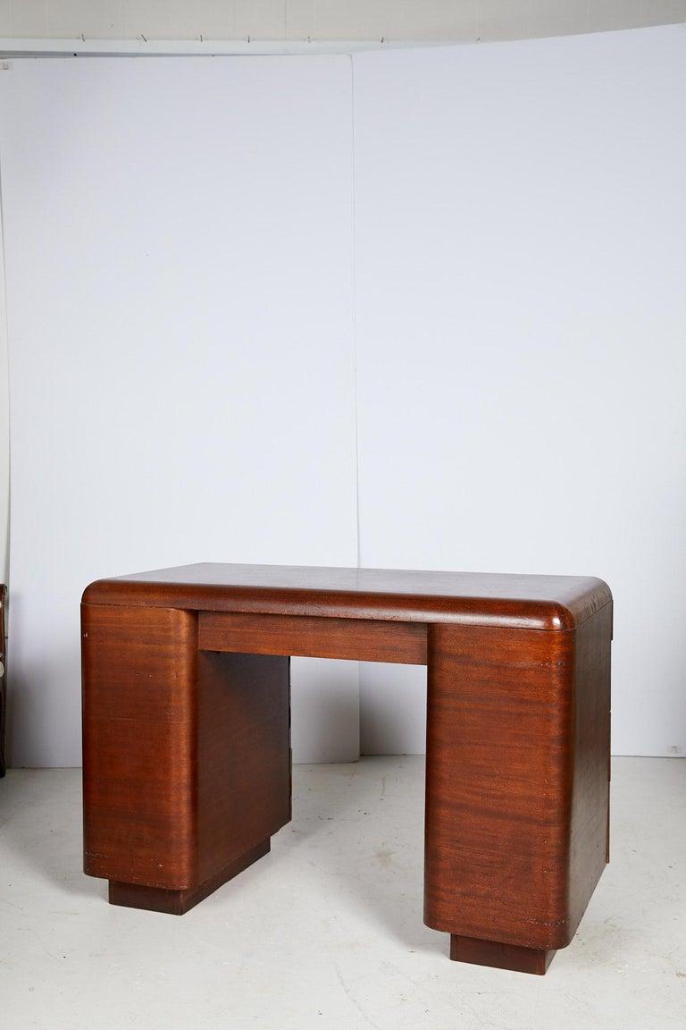 Art Deco Streamlined Bentwood Pedestal Desk by Paul Goldman for Plymold Co. 2