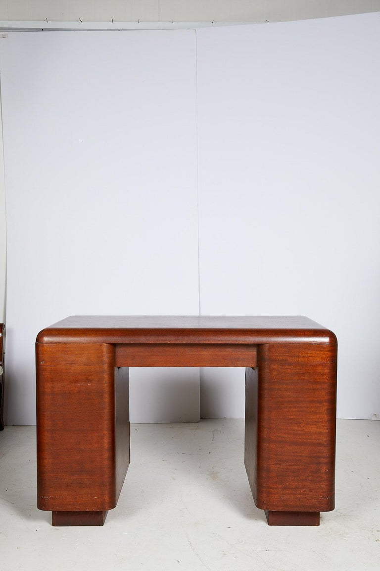 Art Deco Streamlined Bentwood Pedestal Desk by Paul Goldman for Plymold Co. 3
