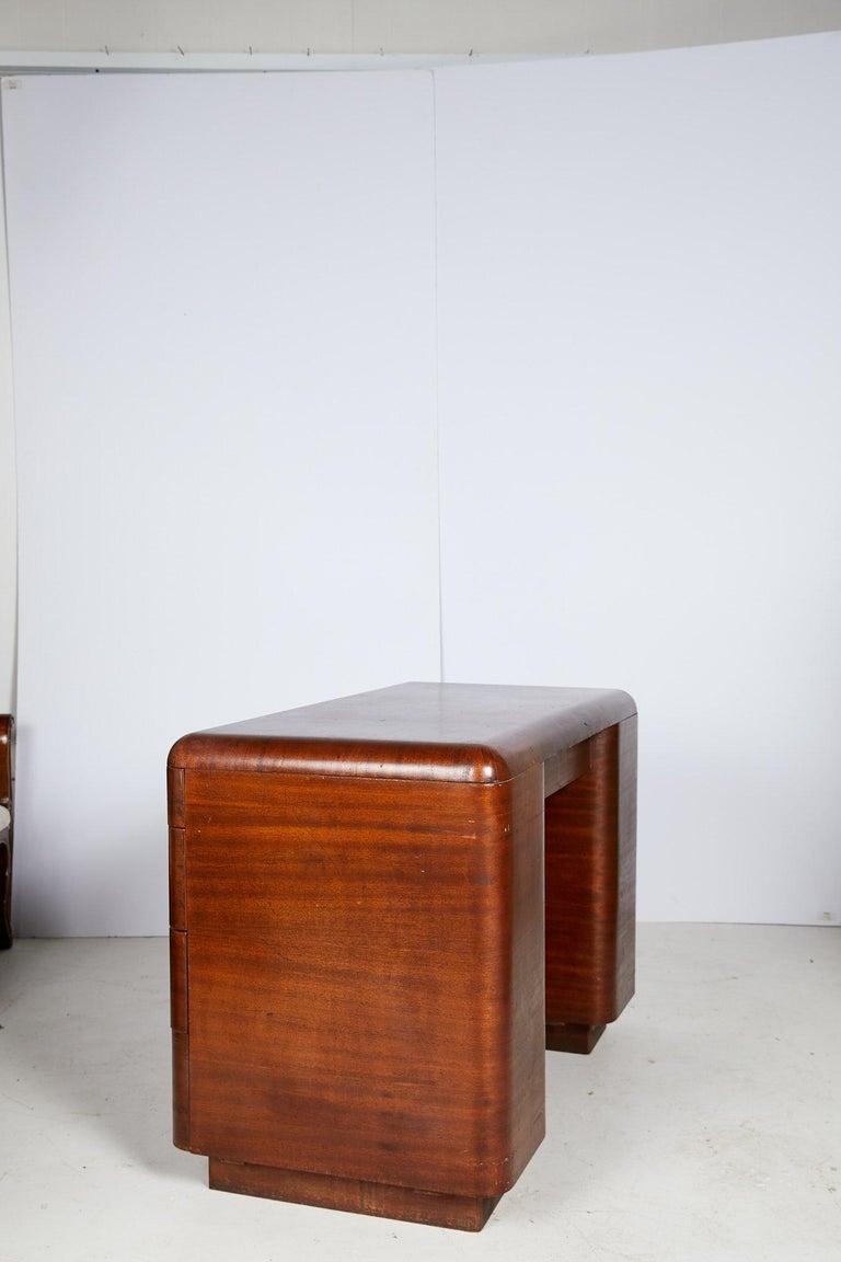 Art Deco Streamlined Bentwood Pedestal Desk by Paul Goldman for Plymold Co. 4
