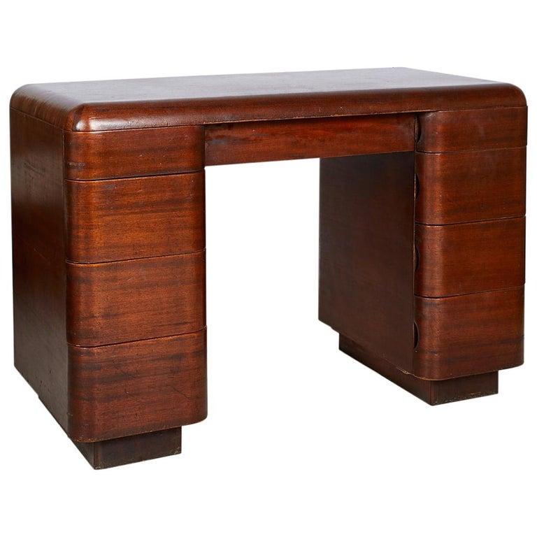 Art Deco Streamlined Bentwood Pedestal Desk by Paul Goldman for Plymold Co.