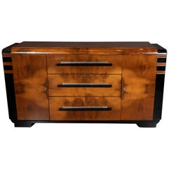 Art Deco Streamlined Black Lacquer and Burled Walnut Sideboard by Donald Deskey