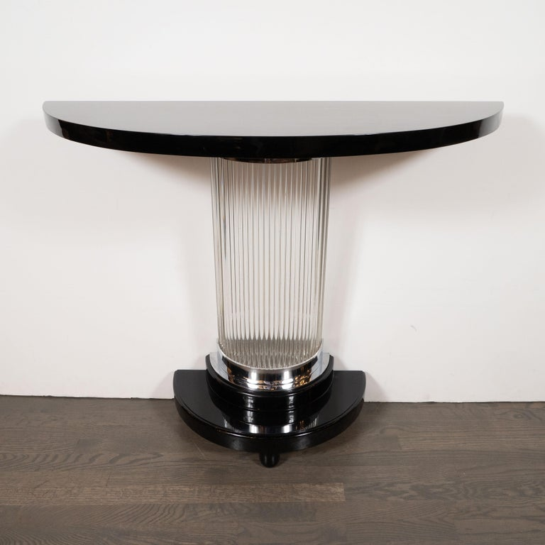 American Art Deco Streamlined Black Lacquer Demilune Console Table with Glass Rods For Sale