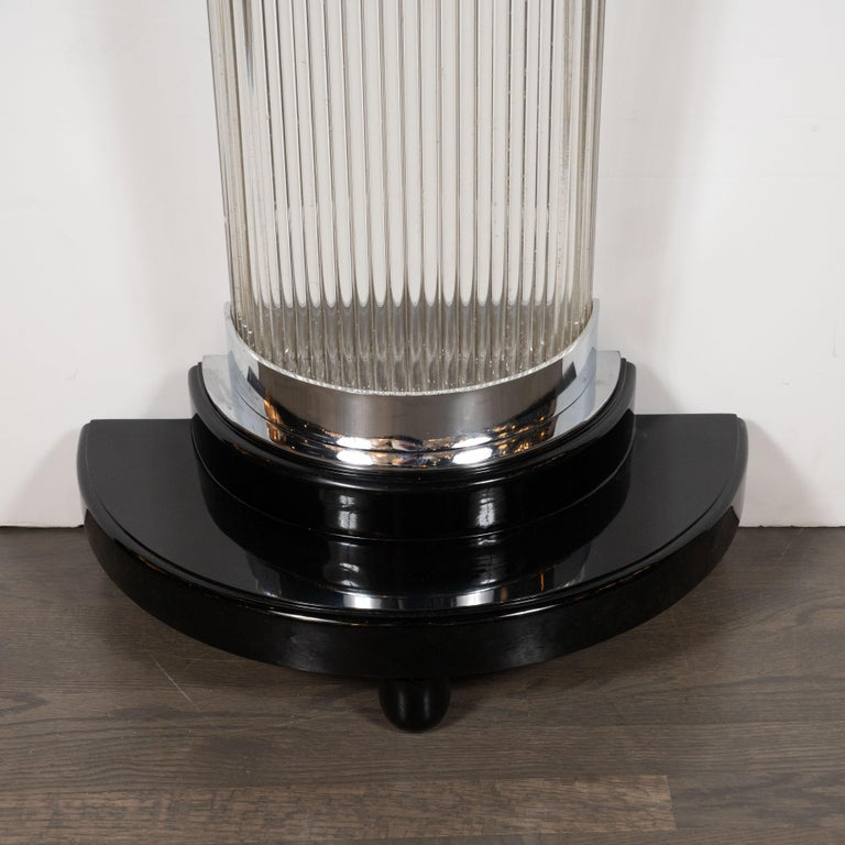 Art Deco Streamlined Black Lacquer Demilune Console Table with Glass Rods In Excellent Condition For Sale In New York, NY
