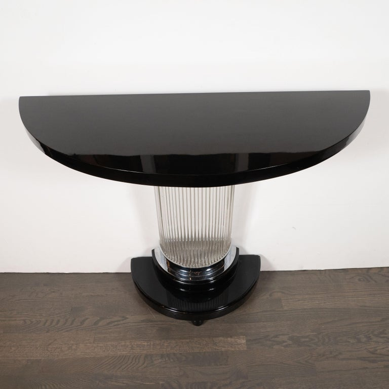 Art Deco Streamlined Black Lacquer Demilune Console Table with Glass Rods For Sale 1