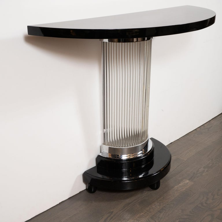 Art Deco Streamlined Black Lacquer Demilune Console Table with Glass Rods For Sale 2