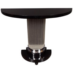 Art Deco Streamlined Black Lacquer Demilune Console Table with Glass Rods