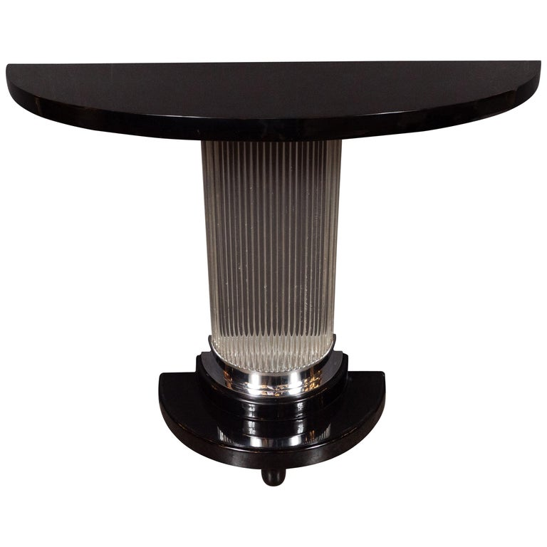 Art Deco Streamlined Black Lacquer Demilune Console Table with Glass Rods For Sale