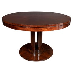 Art Deco Streamlined Bookmatched & Burled Walnut Dining/Center Table