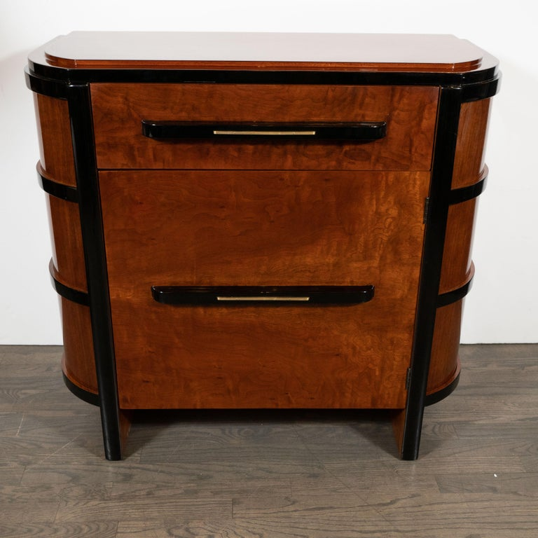American Art Deco Streamlined Bookmatched Walnut & Black Lacquer Cabinet by Donald Deskey For Sale