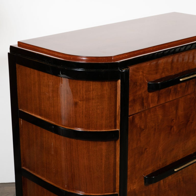 Art Deco Streamlined Bookmatched Walnut & Black Lacquer Cabinet by Donald Deskey For Sale 1