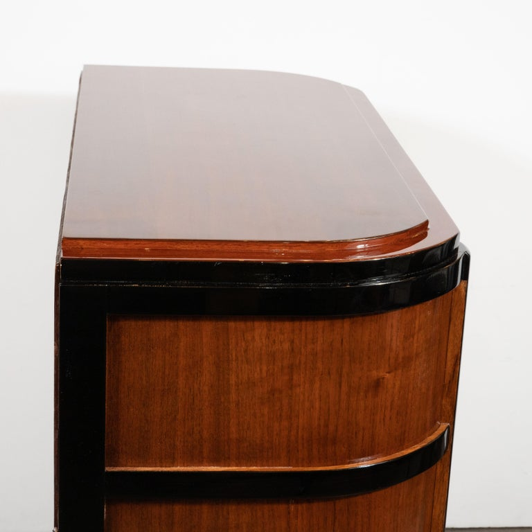 Art Deco Streamlined Bookmatched Walnut & Black Lacquer Cabinet by Donald Deskey For Sale 3