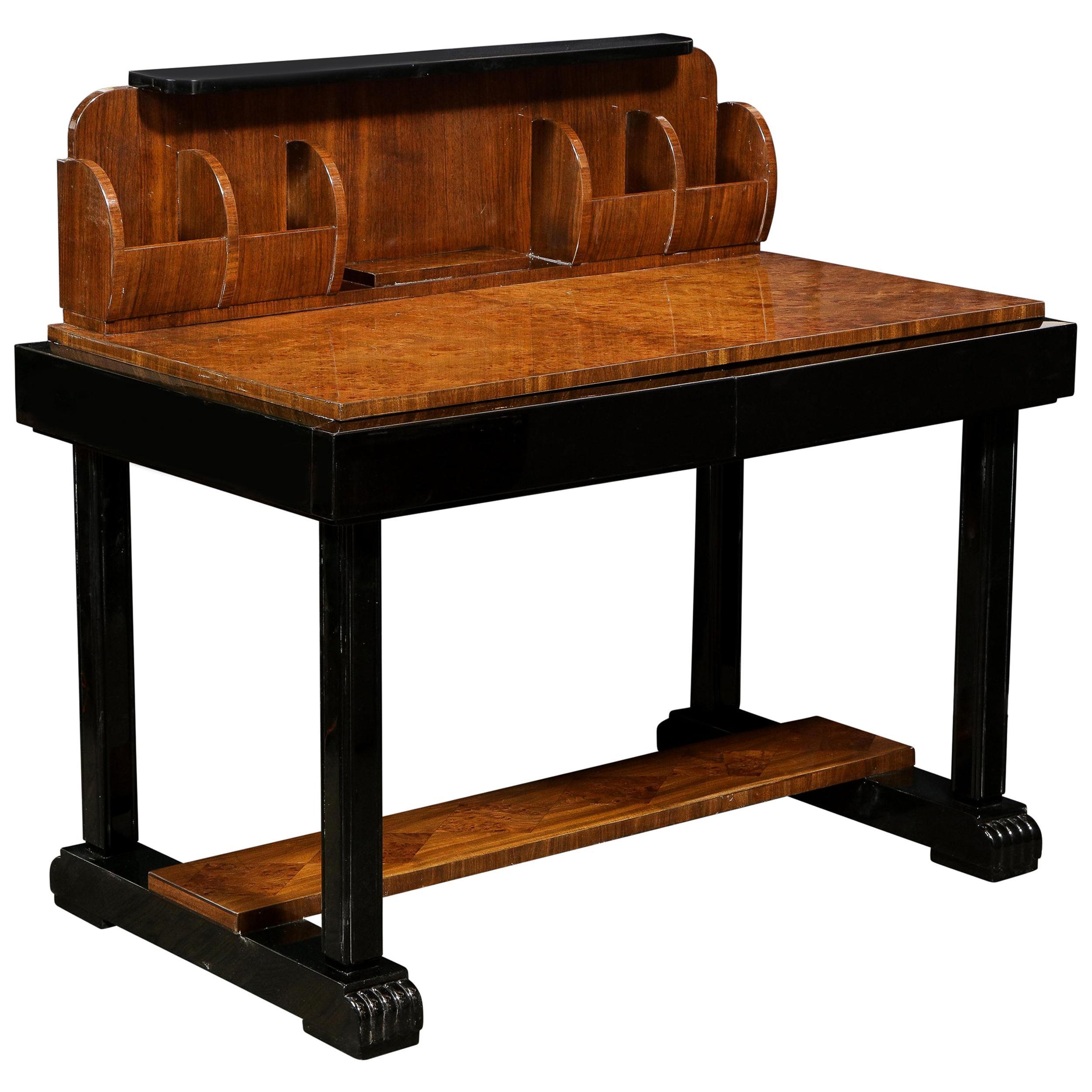 Art Deco Streamlined Burled & Bookmatched Carpathian Elm, Walnut & Lacquer Desk
