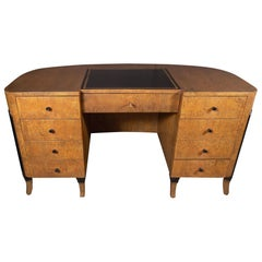Art Deco Streamlined Eight-Drawer Desk in Burled and Ebonized Walnut