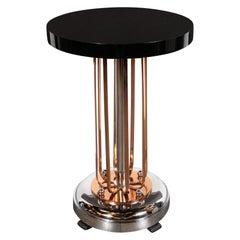 Art Deco Streamlined Machine Age Chrome, Copper & Black Lacquer Occasional Table