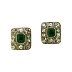 Art Deco Stud / Screw Back Earrings with Natural Emerald and Diamonds, 1920, USA