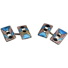 Art Deco Stunning Geometric Guilloche Enamel and Sterling Silver Cufflinks