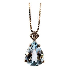 Art Deco Style 0.03 Carat Diamond 1.20 Carat Aquamarine White Gold Necklace