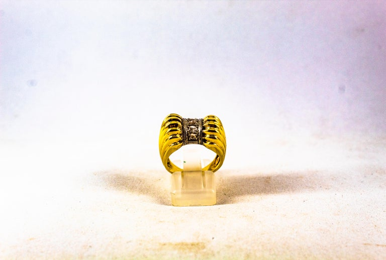 This Ring is made of 9K Yellow Gold. This Ring has 0.30 Carats of White Rose Cut Diamonds. Size ITA: 14 1/2 USA: 7  We're a workshop so every piece is handmade, customizable and resizable.