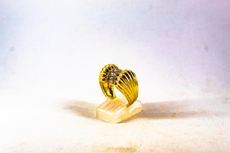 Women's or Men's Art Deco Style 0.30 Carat White Rose Cut Diamond Yellow Gold Cocktail Ring For Sale
