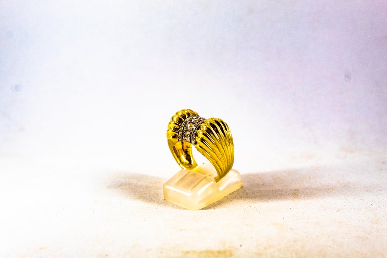 Art Deco Style 0.30 Carat White Rose Cut Diamond Yellow Gold Cocktail Ring For Sale 1
