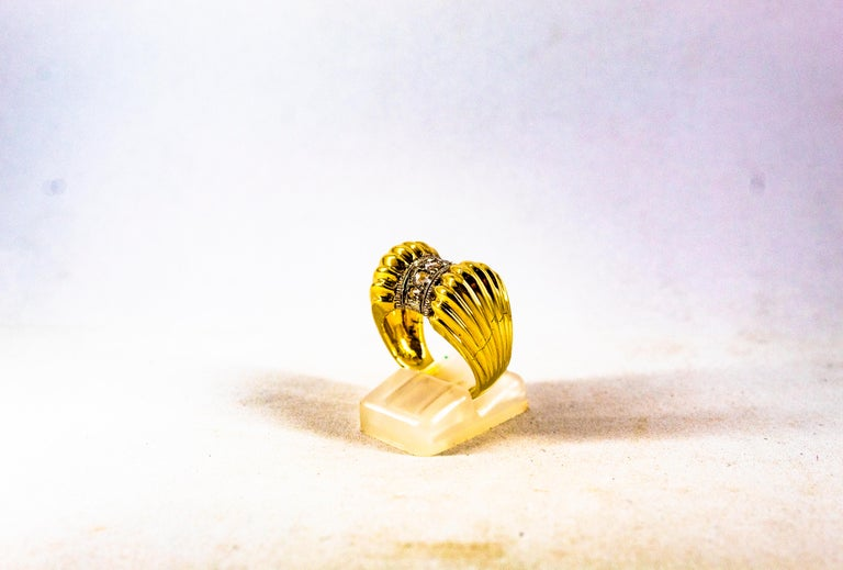 Art Deco Style 0.30 Carat White Rose Cut Diamond Yellow Gold Cocktail Ring For Sale 2