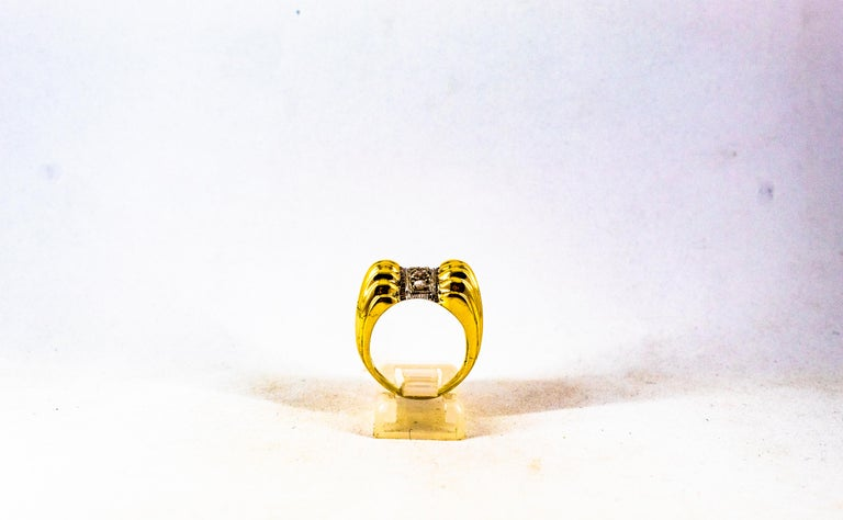 Art Deco Style 0.30 Carat White Rose Cut Diamond Yellow Gold Cocktail Ring For Sale 4