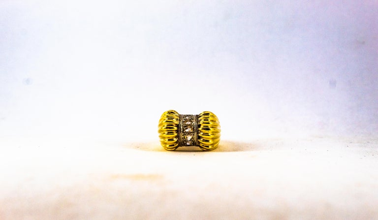 Art Deco Style 0.30 Carat White Rose Cut Diamond Yellow Gold Cocktail Ring For Sale 5