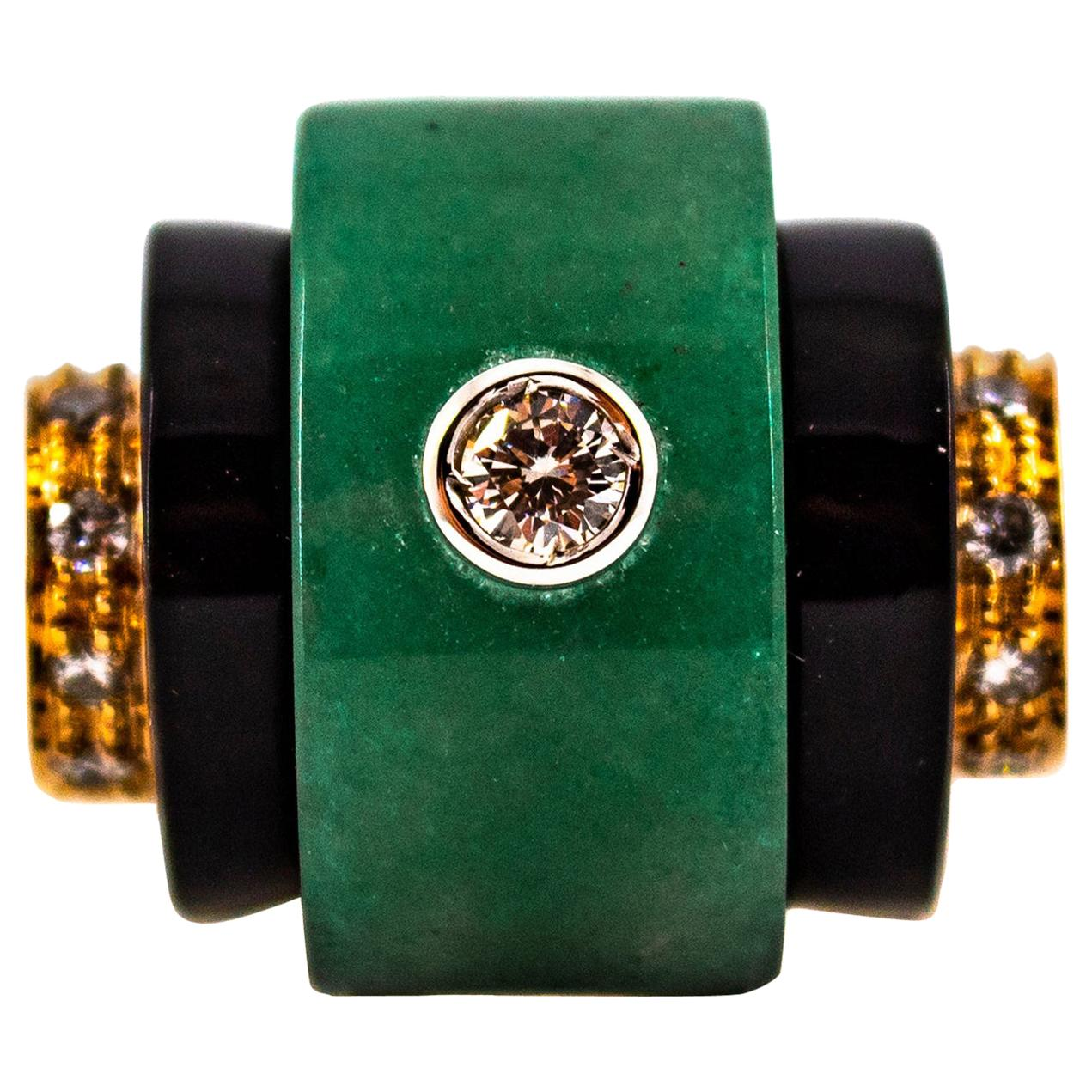 Art Deco Style 0.35 Carat White Diamond Onyx Jade Yellow Gold Cocktail Ring