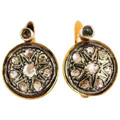 Art Deco Style 0.40 Carat White Rose Cut Diamond Yellow Gold Lever Back Earrings