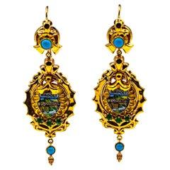 Art Deco Style 0.50 Carat Emerald Turquoise Enamel Yellow Gold Drop Earrings