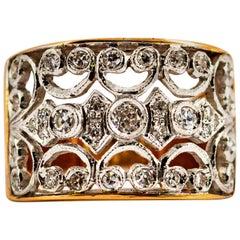 Art Deco Style 0.50 Carat White Brilliant Cut Diamond Rose Gold Band Ring