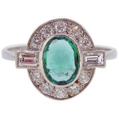 Art Deco Style 0.60 Carat Emerald and Diamond Cluster Ring, 18 Carat Platinum