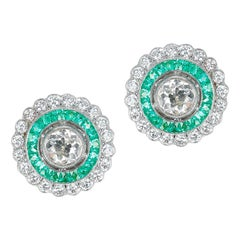 Art Deco Style 0.70 Ct. Each Diamond and Invisibly Set Emerald Earrings,Platinum