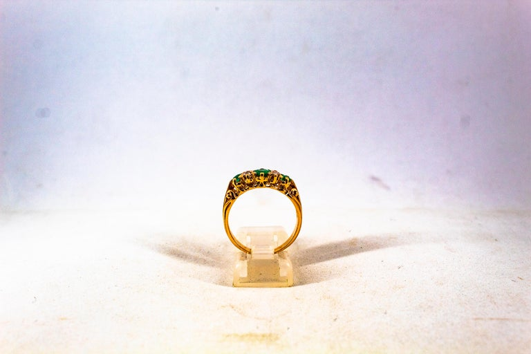 Art Deco Style 0.75 Carat White Rose Cut Diamond Emerald Yellow Gold Band Ring For Sale 7